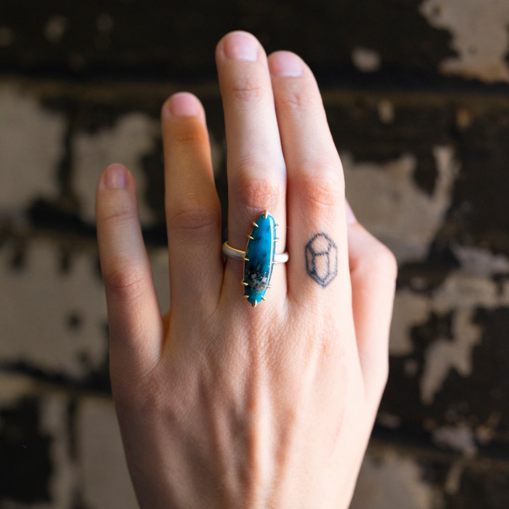 Undertow Turquoise Vanity Ring, 6.5-Hannah Blount Jewelry