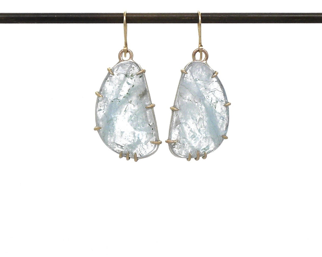 Brushwork Aquamarine Vanity Earrings-Hannah Blount Jewelry