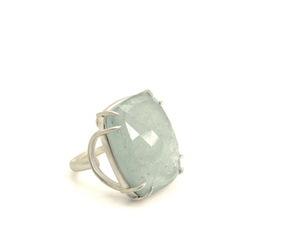 Sea Spray Aquamarine Stirrup Vanity Ring, 7-Hannah Blount Jewelry