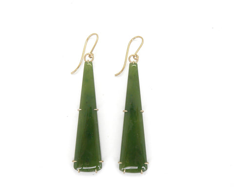 Retro Nephrite Jade Vanity Earrings-Hannah Blount Jewelry