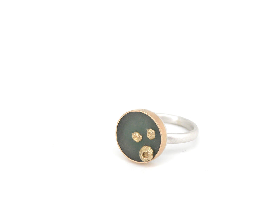 Willow Chrysoprase Ruthie B. Ring with Barnacles-Hannah Blount Jewelry