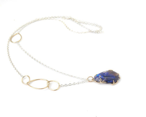 Aequorin Opal + Diamond Branch Waiting Necklace-Hannah Blount Jewelry
