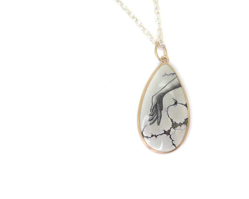 Touch the Spindle Scrimshaw Variscite Necklace-Hannah Blount Jewelry