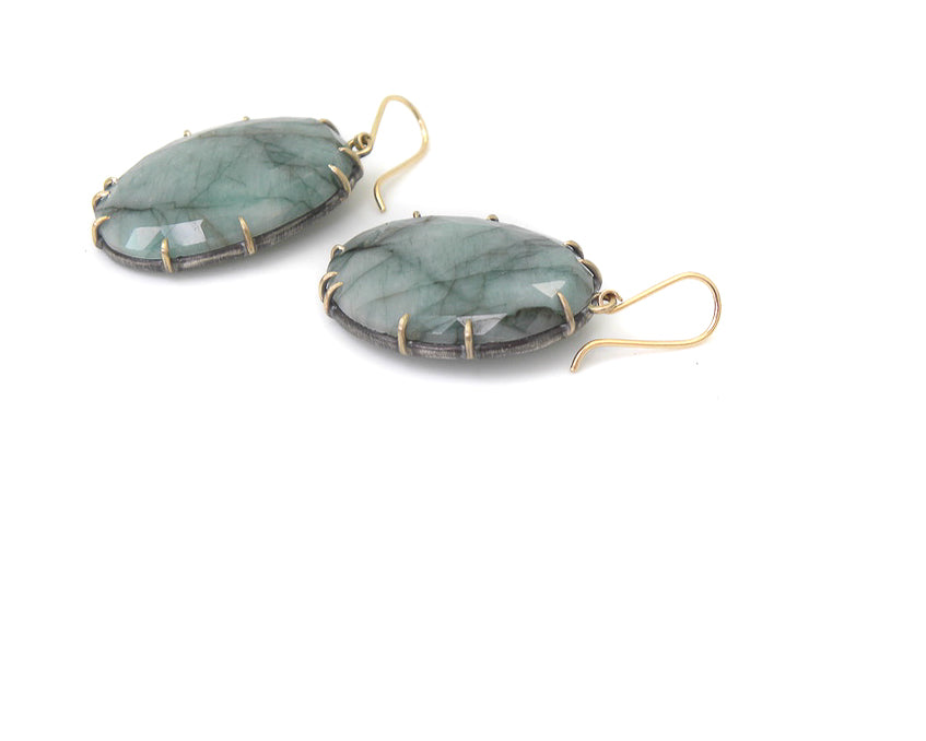 Eucalyptus Emerald Vanity Earrings-Hannah Blount Jewelry