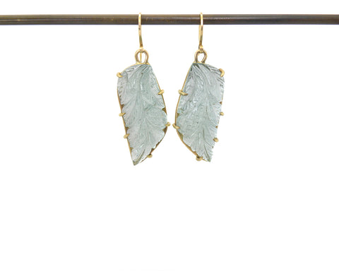 Alkonost Carved Aquamarine Vanity Earrings-Hannah Blount Jewelry