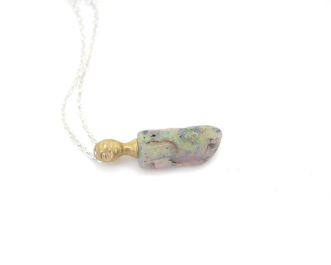 Spectral Raw Opal Cameo Necklace-Hannah Blount Jewelry