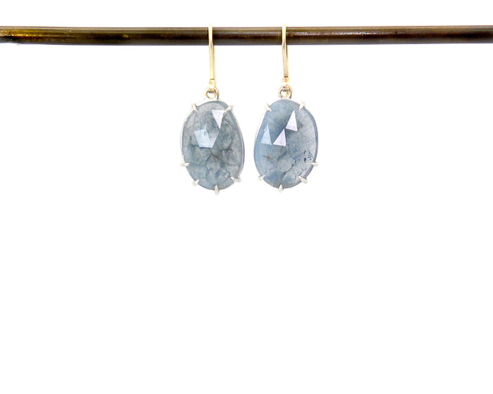 Slate Aquamarine Vanity Earrings-Hannah Blount Jewelry