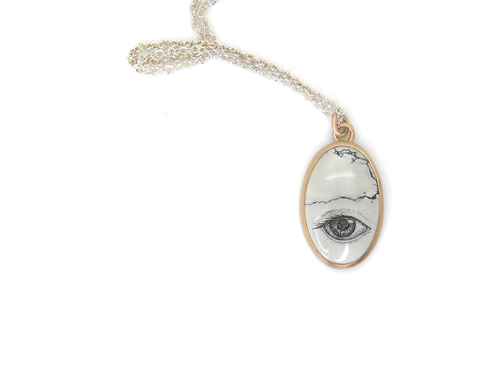 Lover's Eye Study #18 Variscite Scrimshaw Necklace-Hannah Blount Jewelry