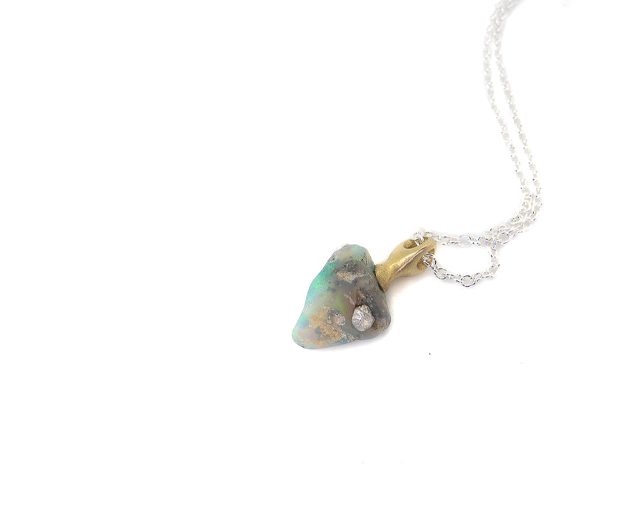 Aegean Raw Opal Cameo Necklace with Barnacles-Hannah Blount Jewelry