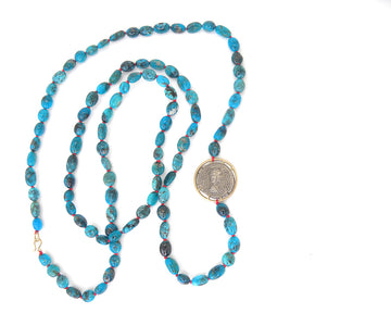Ancient Ruler Fulvia Plautilla + Goddess Venus Coin and Turquoise Vanity Necklace-Hannah Blount Jewelry