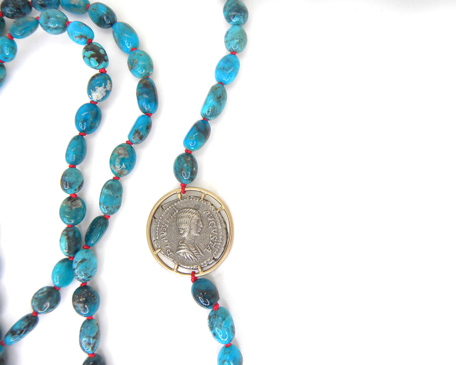 Ancient Empress Fulvia Plautilla + Goddess Venus Turquoise Vanity Coin Necklace-Hannah Blount Jewelry