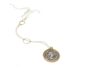 Ancient Ruler Faustina the Elder + Goddess Ceres Coin Vanity Necklace-Hannah Blount Jewelry