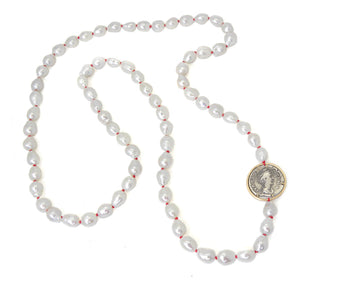 Ancient Ruler Faustina the Elder + Goddess Ceres Coin and Pearls Vanity Necklace-Hannah Blount Jewelry