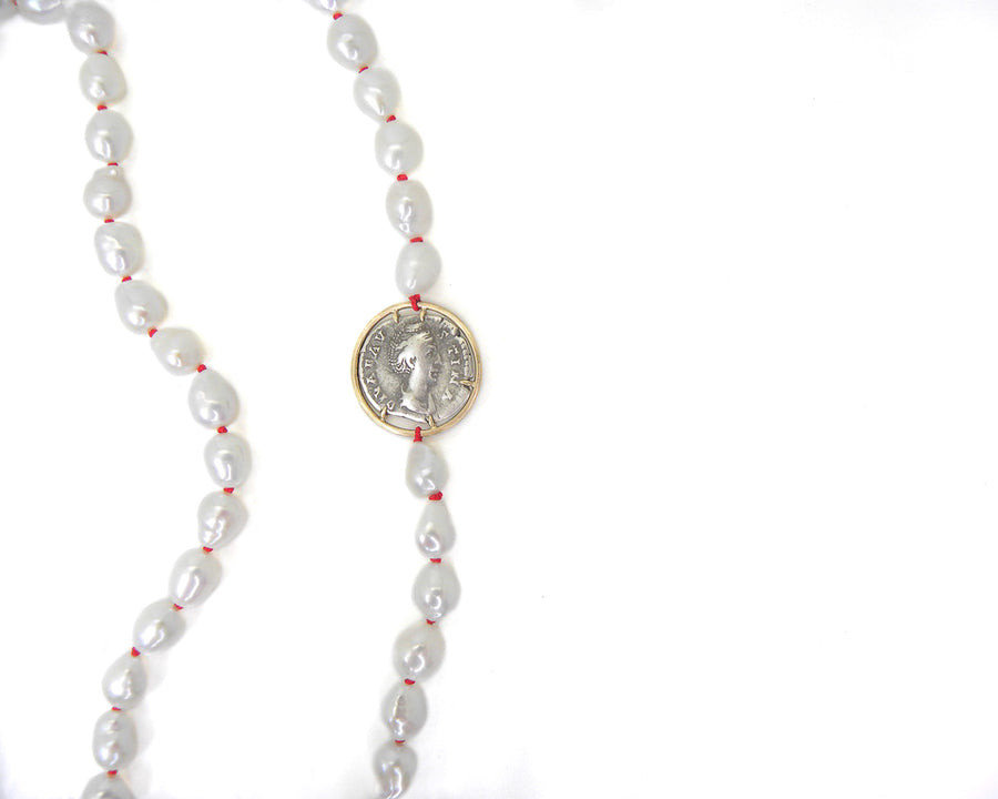 Ancient Empress Faustina the Elder + Goddess Ceres Pearls Vanity Coin Necklace-Hannah Blount Jewelry
