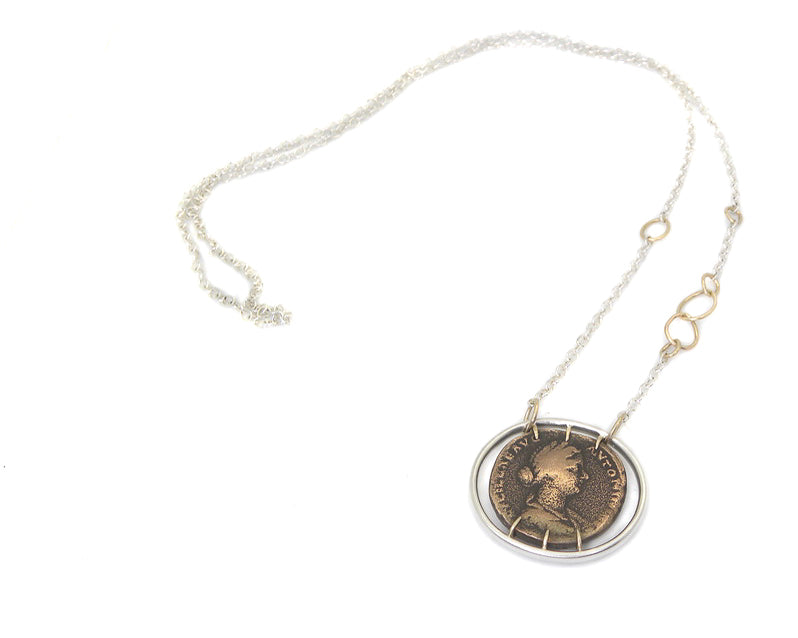 Ancient Empress Lucilla + Pietas Vanity Coin Necklace-Hannah Blount Jewelry