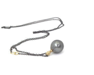 Asteria Tahitian Pearl Cameo Necklace-Hannah Blount Jewelry