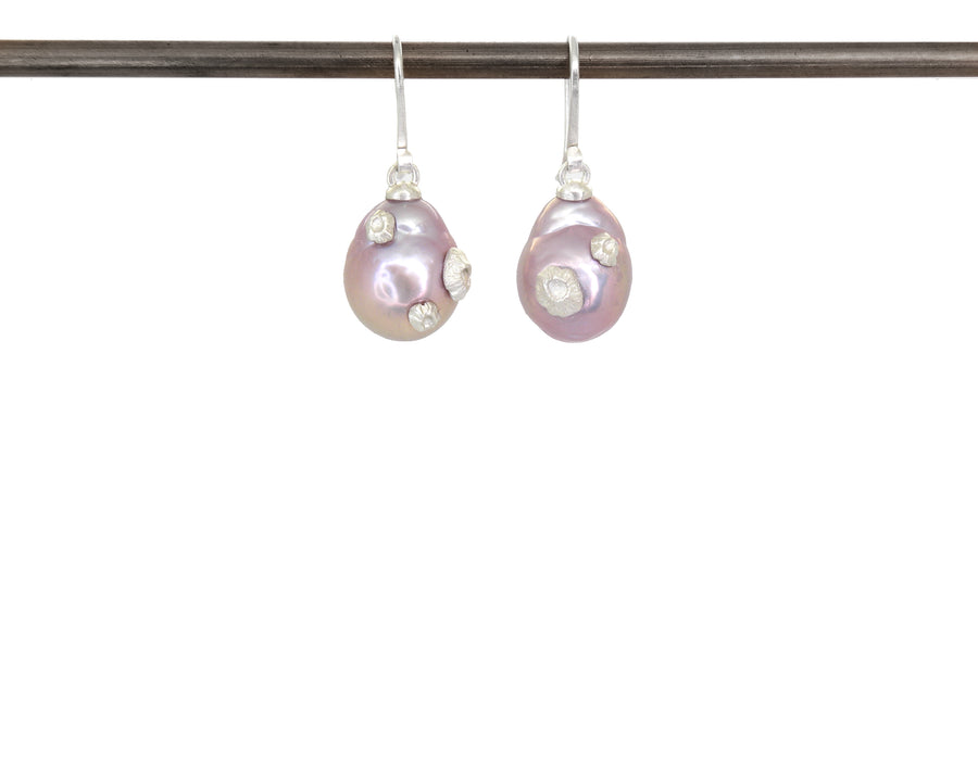 Astral Tides Pearl Ruthie B. Earrings with Barnacles-Hannah Blount Jewelry
