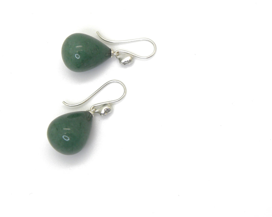 Sage Aventurine Figurehead Cameo Earrings-Hannah Blount Jewelry