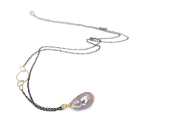 Cosmic Egg Pearl + Diamond Cameo Necklace-Hannah Blount Jewelry