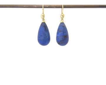 River Dumortierite Figurehead Cameo Earrings-Hannah Blount Jewelry