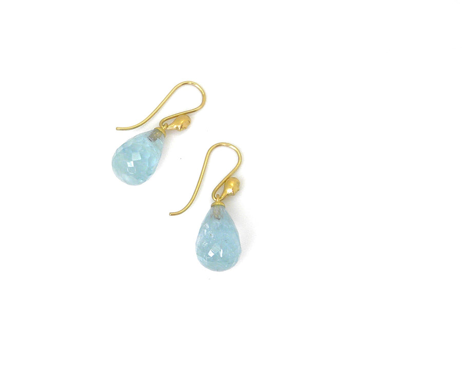 Faceted Aquamarine Figurehead Cameo Earrings-Hannah Blount Jewelry