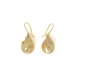 Empyrean Golden South Sea Pearl Ruthie B. Earrings with Barnacles-Hannah Blount Jewelry