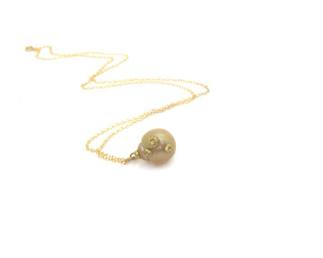 Sunrise South Sea Pearl Ruthie B. Necklace with Barnacles-Hannah Blount Jewelry
