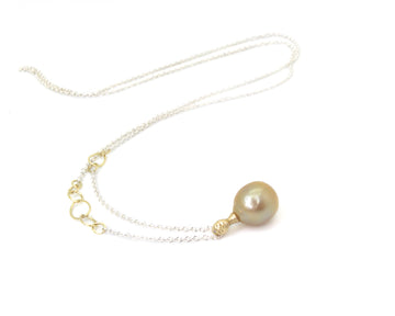 Tyche Golden Pearl Cameo Necklace-Hannah Blount Jewelry