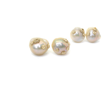 Gossamer Baroque Pearl Studs with Barnacles-Hannah Blount Jewelry