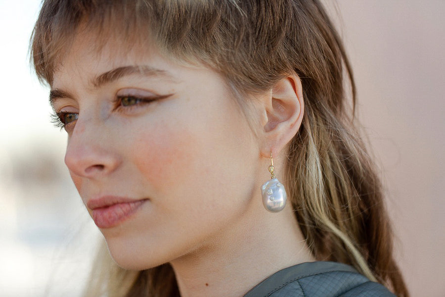 Theia Pearl Figurehead Cameo Earrings with Barnacles-Hannah Blount Jewelry