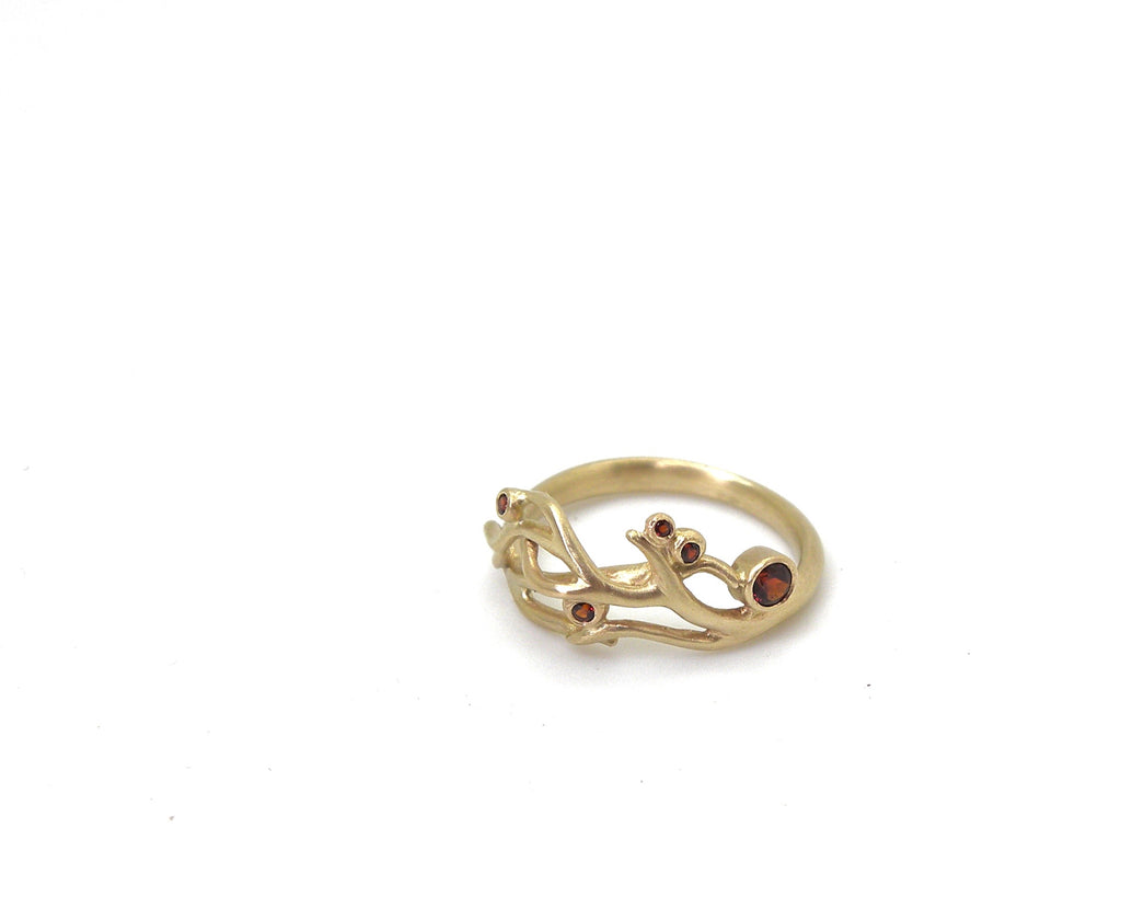 Garnet Holly Berry Branch Waiting Ring, 5.5-Hannah Blount Jewelry