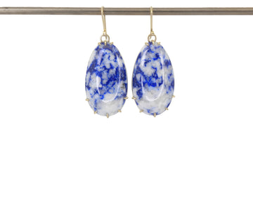 Lapis + Calcite Egg Vanity Earrings-Hannah Blount Jewelry