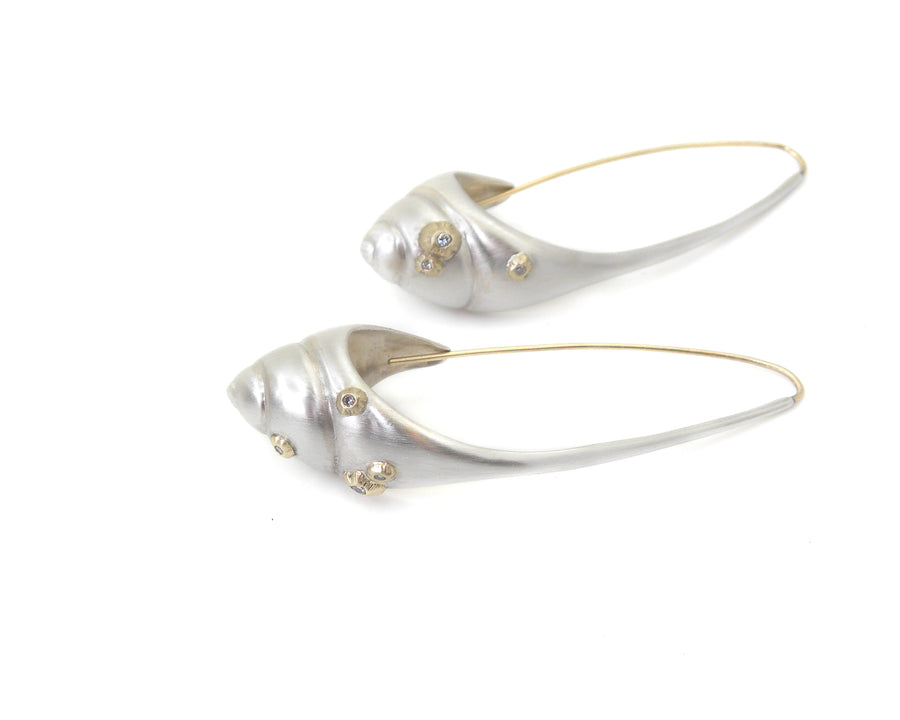 Barnacle Sea Snail Ruthie B. Hoops with Diamonds-Hannah Blount Jewelry
