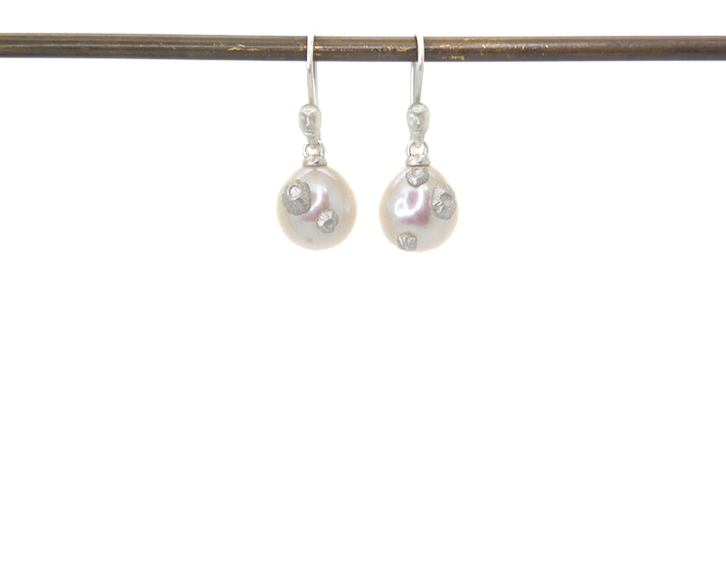 Nix Pearl Figurehead Cameo Earrings with Barnacles-Hannah Blount Jewelry