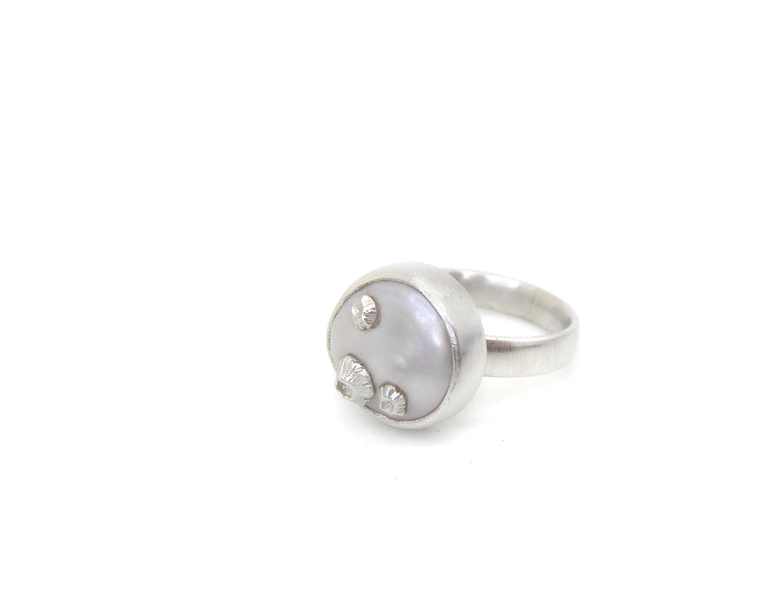 Coin Pearl Ruthie B. Rings with Barnacles-Hannah Blount Jewelry