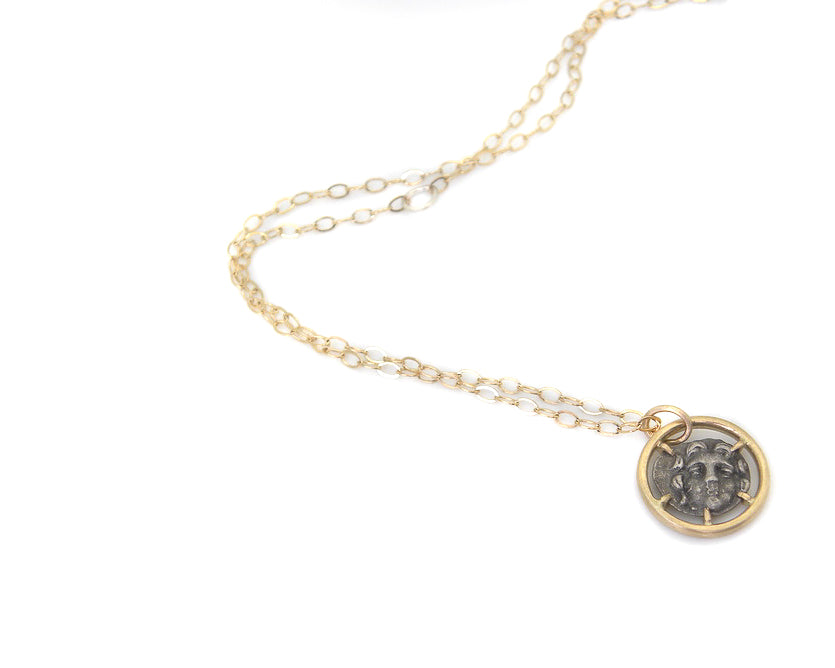 Ancient Medusa + Athena Coin Vanity Necklace-Hannah Blount Jewelry
