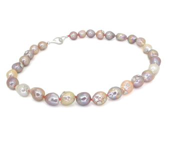 Moonbeam Pearl Ruthie B. Necklace with Barnacles-Hannah Blount Jewelry