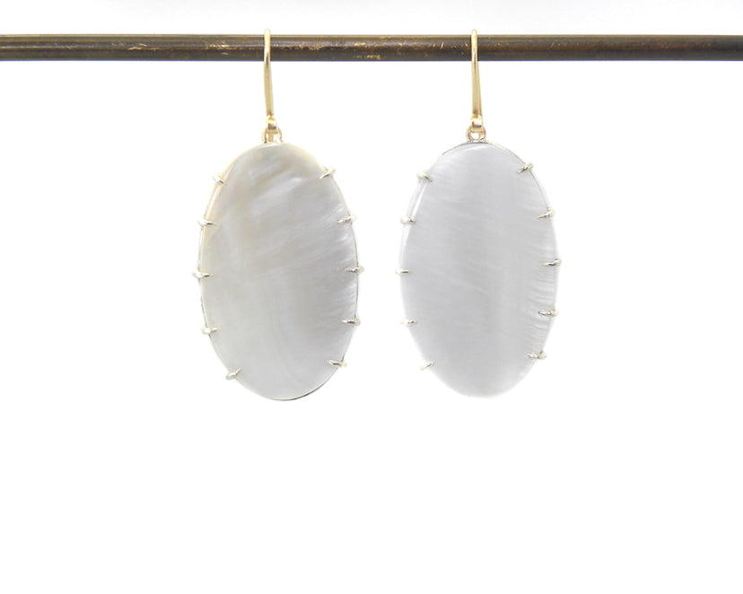 Vapor Mother of Pearl Vanity Earrings-Hannah Blount Jewelry