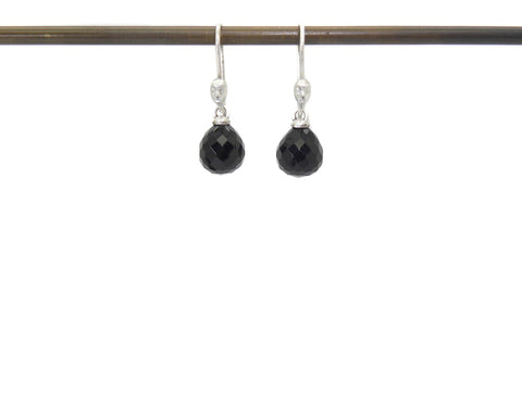 Faceted Onyx Figurehead Cameo Earrings-Hannah Blount Jewelry