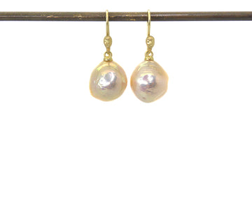 Salmon Pearl Figurehead Cameo Earrings-Hannah Blount Jewelry