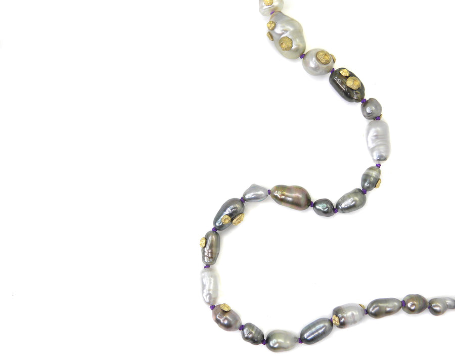 Tahitian Keshi Pearl Ruthie B. Necklace with Barnacles-Hannah Blount Jewelry