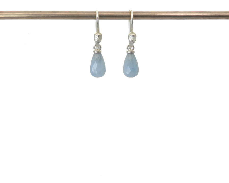Dainty Aquamarine Figurehead Cameo Earrings-Hannah Blount Jewelry