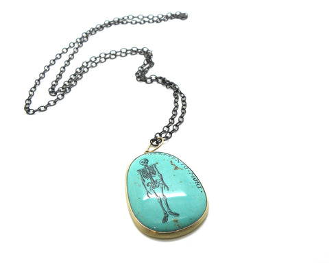 Memento Mori Study #5 Turquoise Scrimshaw Necklace-Hannah Blount Jewelry