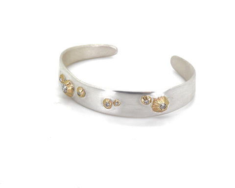 Barnacle Ruthie B. Cuff #2 With Diamonds-Hannah Blount Jewelry