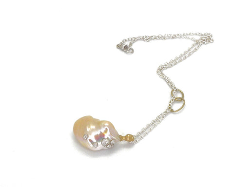Peach Pearl Nymph Cameo Necklace-Hannah Blount Jewelry
