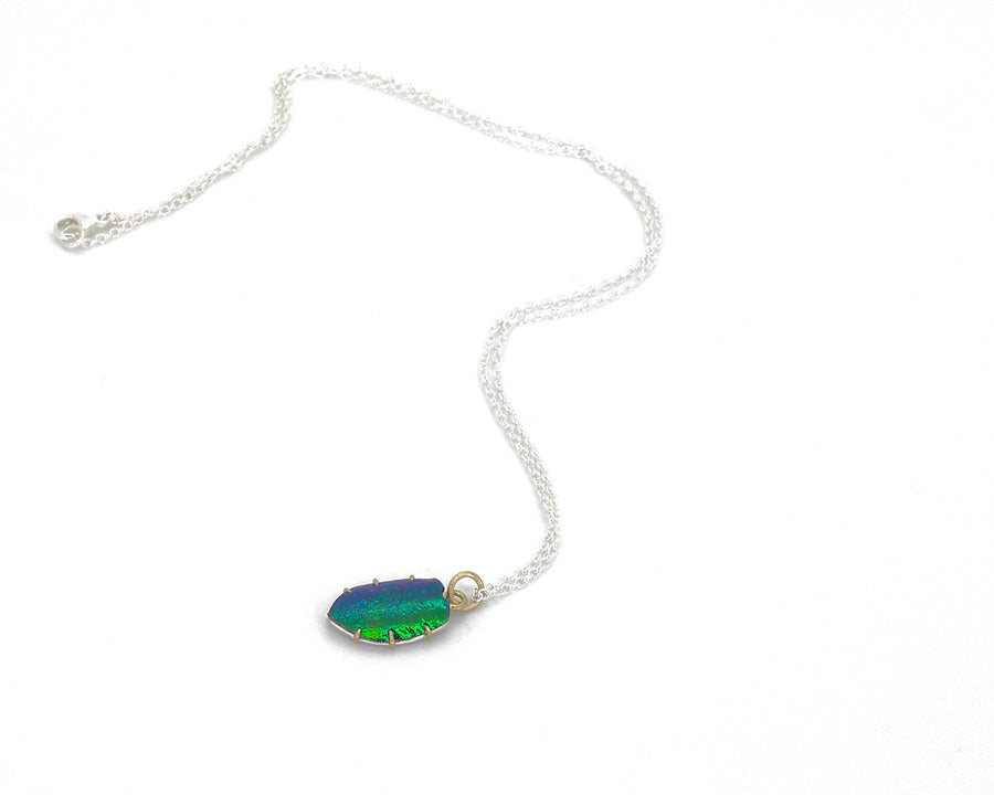 Jewel Beetle Wing Shield Vanity Necklace-Hannah Blount Jewelry