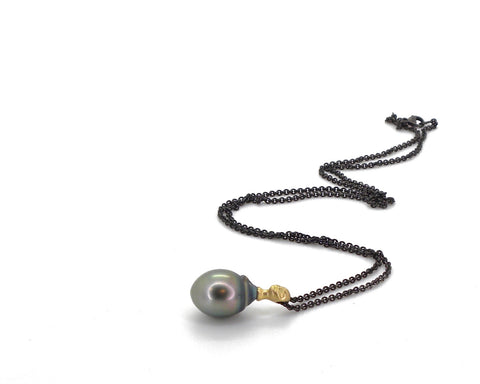 Tahitian Pearl Cameo Necklace-Hannah Blount Jewelry
