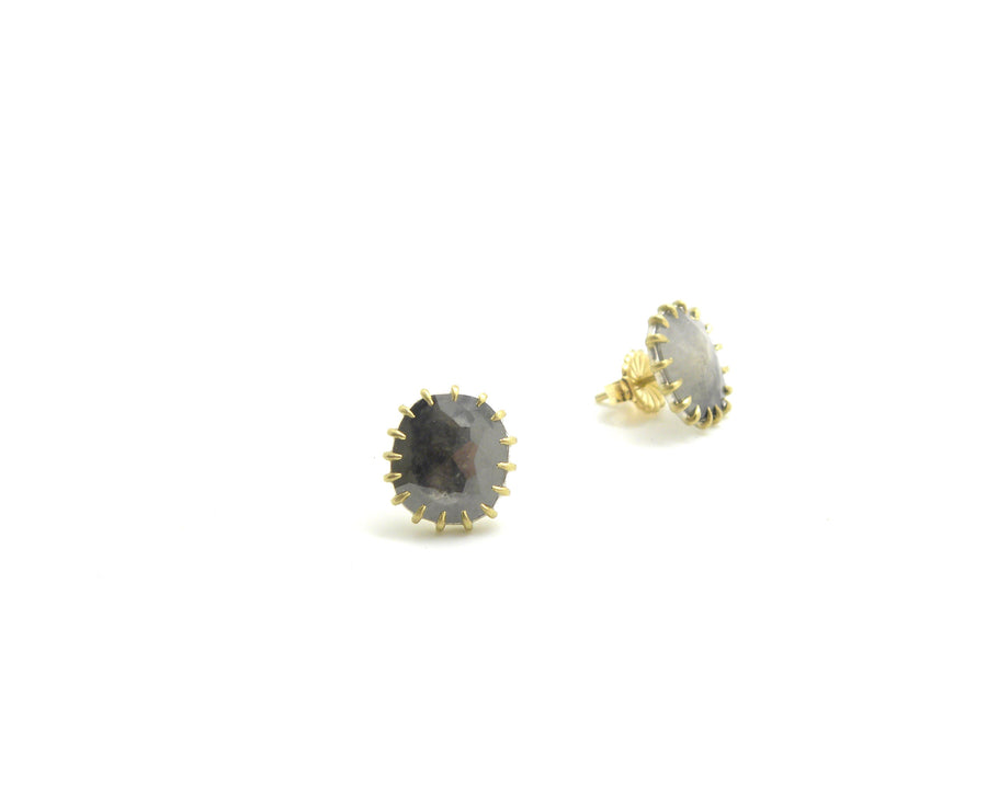 Dark Side of Moon Diamond Vanity Studs-Hannah Blount Jewelry