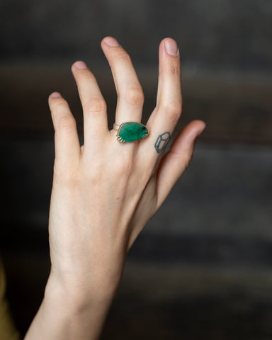Huntress Emerald Vanity Ring, 7-Hannah Blount Jewelry