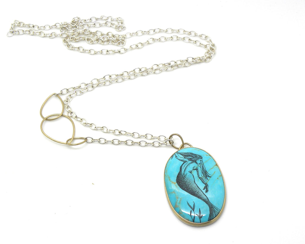 Nude Study #17 Turquoise Scrimshaw Necklace-Hannah Blount Jewelry